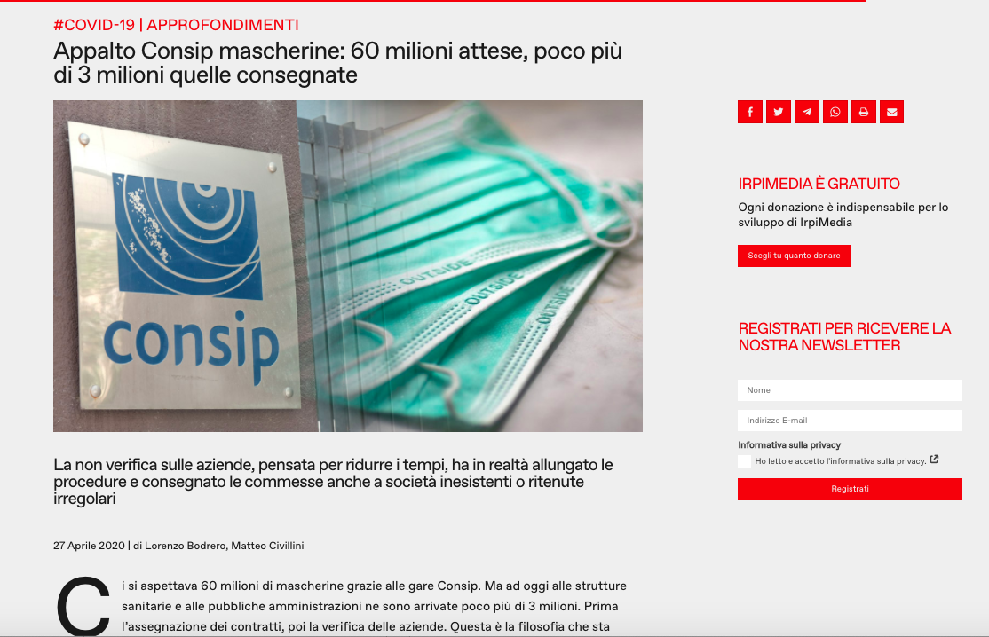 Screenshot of the article posted on Investigative Reporting Project Italy