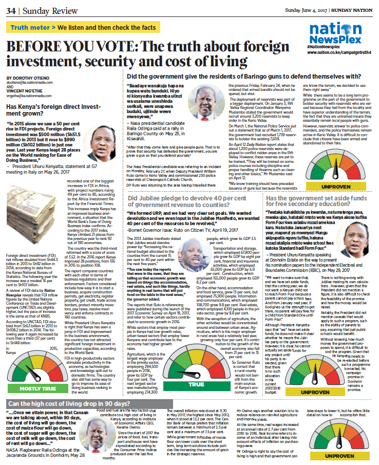 Front page of newspaper: Before You Vote: The Truth about foreign investment, security and cost of living.