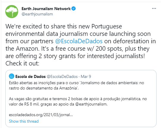EJN Tweet re. School of Data - click for more text