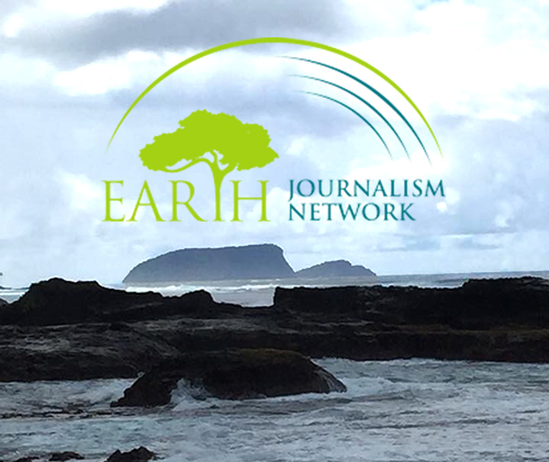 Earth Journalism Network logo over ocean view of Samoa.