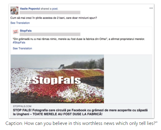 Facebook post screenshot: StopFals - How can you believe in this fake news which only tells lies?