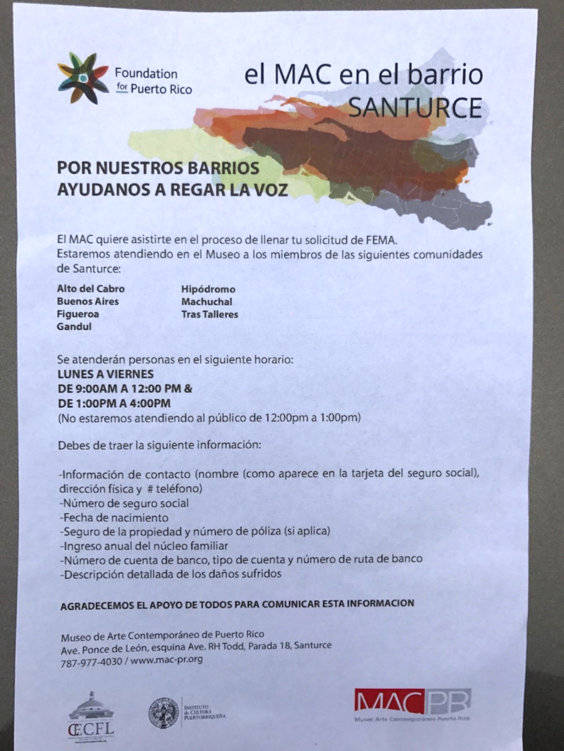 A flyer from the Foundation for Puerto Rico