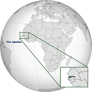 The Gambia highlighted on a world map