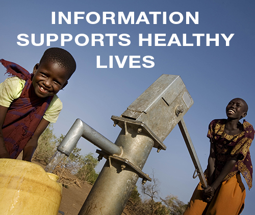 Information Supports Healthy Lives - 2 children get water from a well.