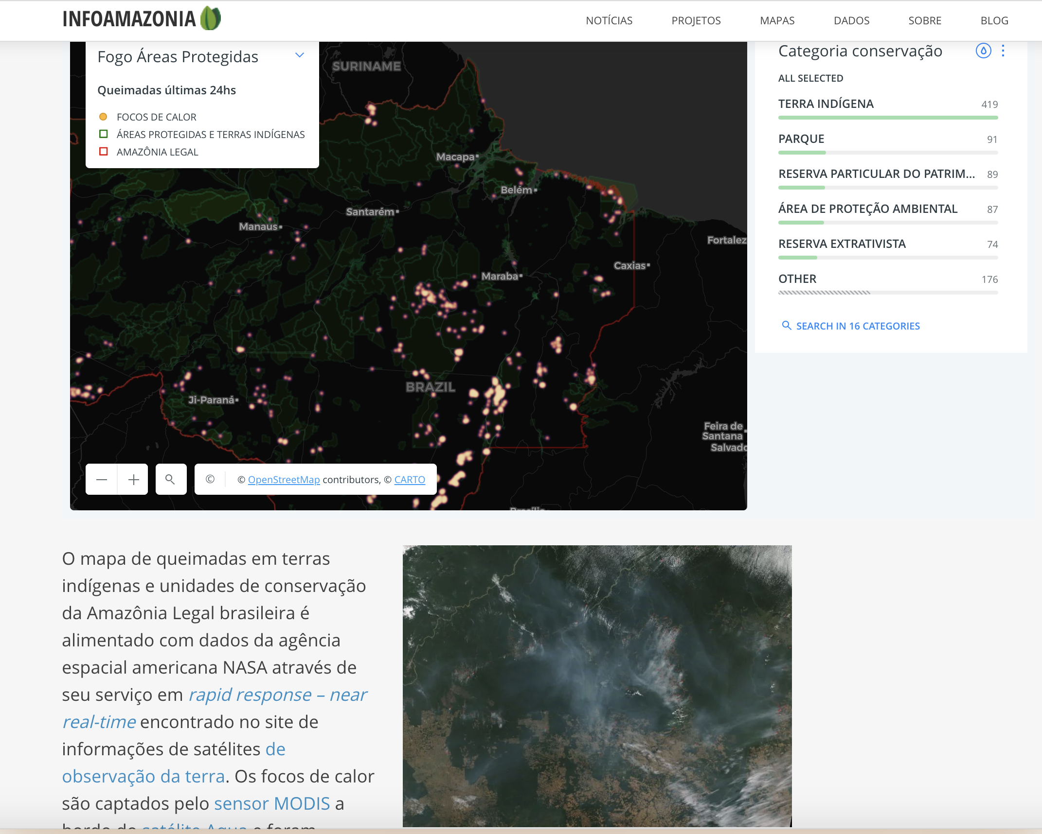 Screenshot of web page showing the InfoAmazonia map and photos
