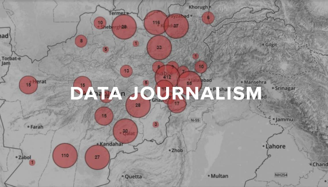 Data Journalism: map with different sized circles on it