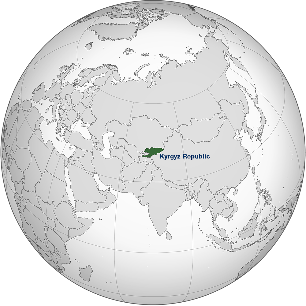 A map showing Kyrgyz Republic