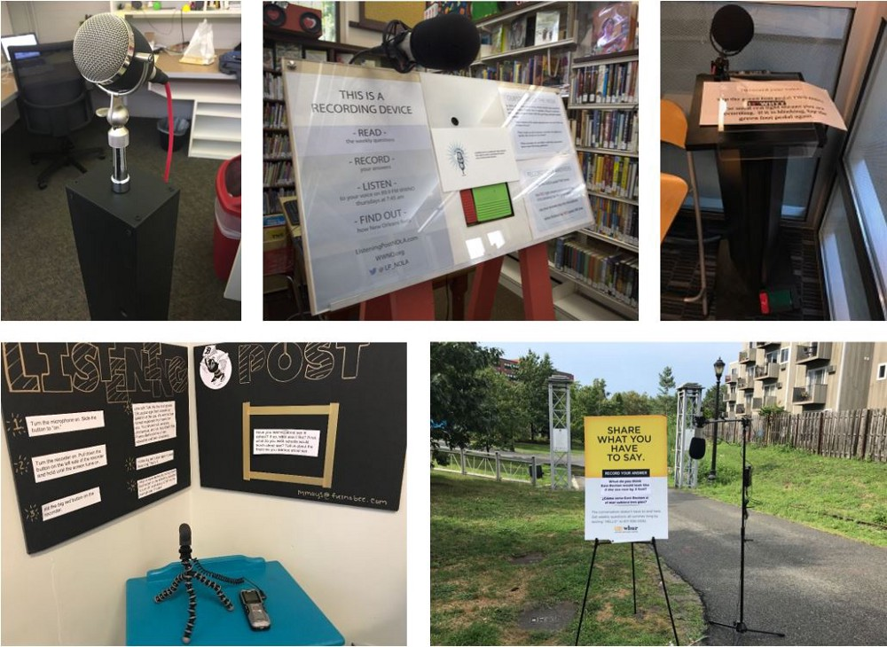 Five photos of different Listening Post projects