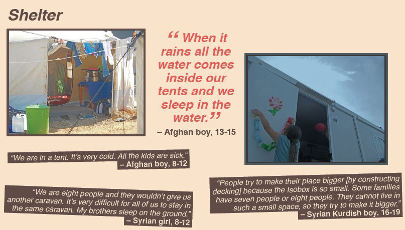 """When it rains all the water comes inside our tents and we sleep in the water."""