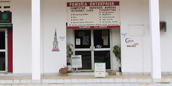 Outside of an Internet cafe in The Gambia