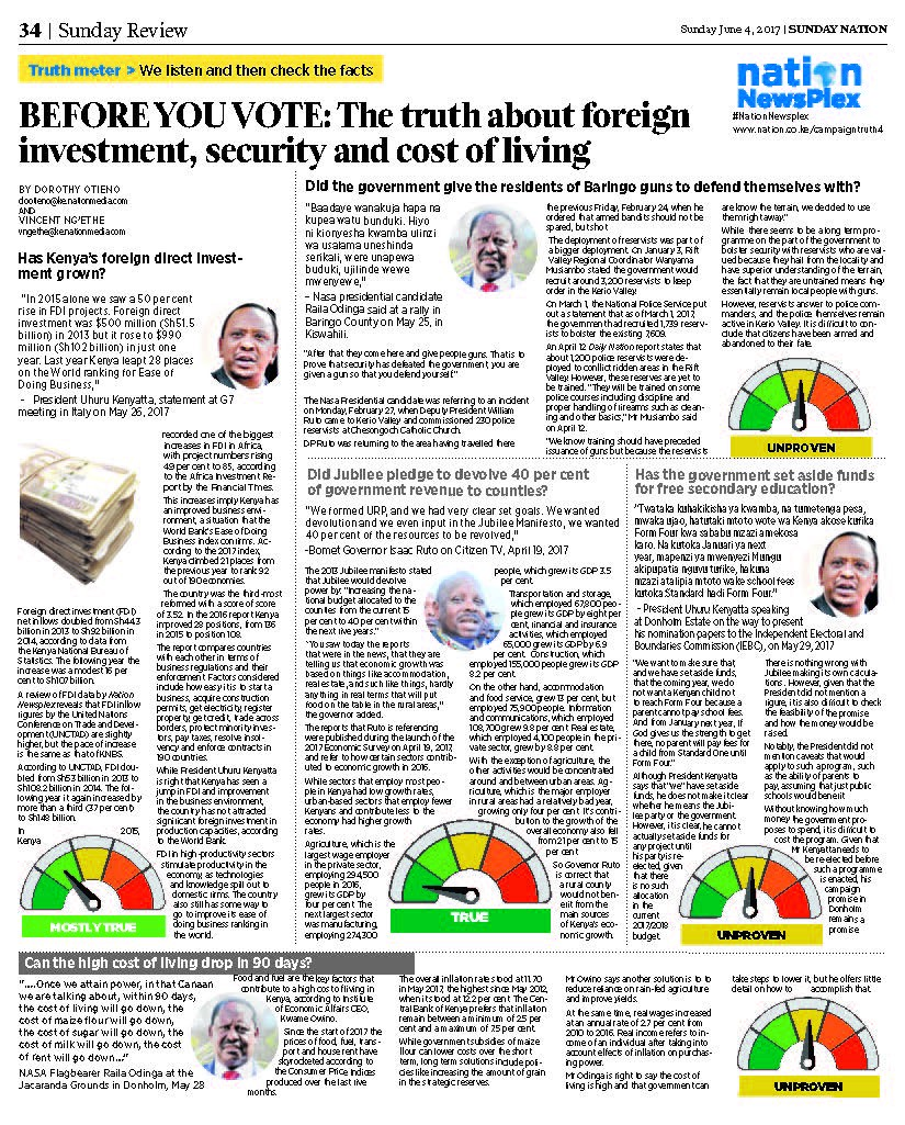 "Front page of Nation Newsplex with the headline ""Before you Vote: The truth about foreign investment, security and cost of living."""