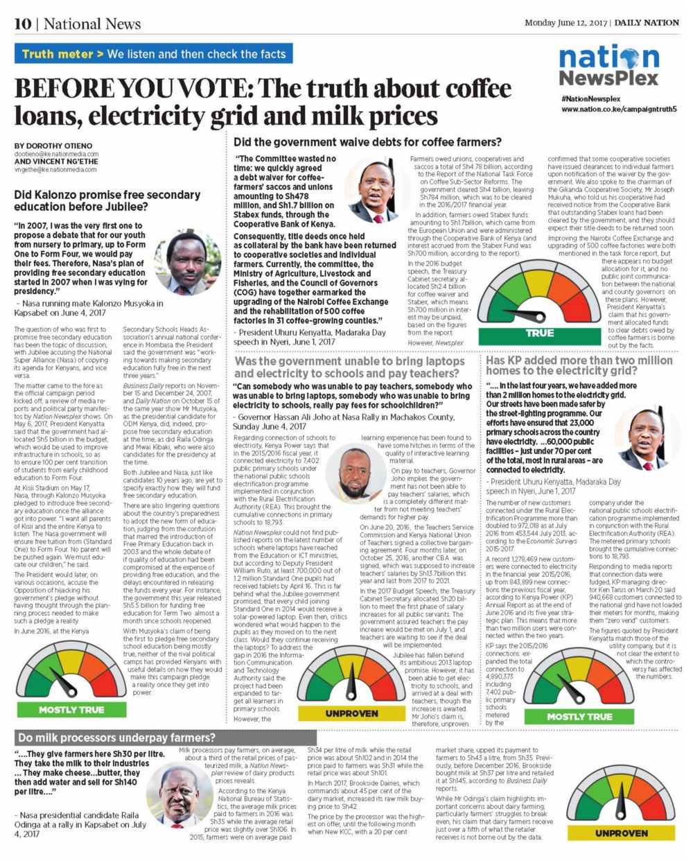 "Front page of newspaper with the headline, ""Before you vote: The Truth about coffee loans, electricity grid and milk prices."""