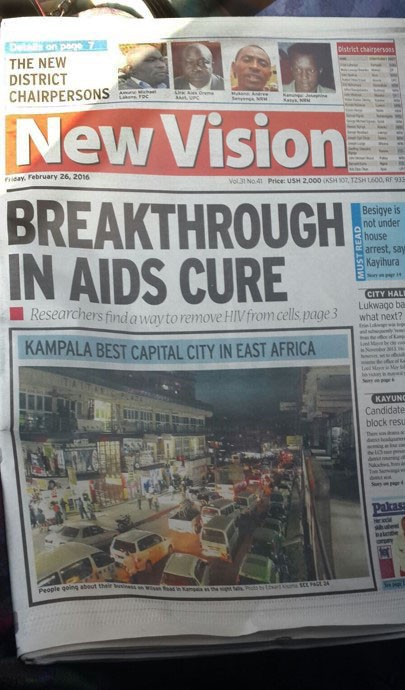 Front page of newspaper New Vision