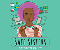 Safe Sisters - a cartoon drawing of a woman holding computer parts
