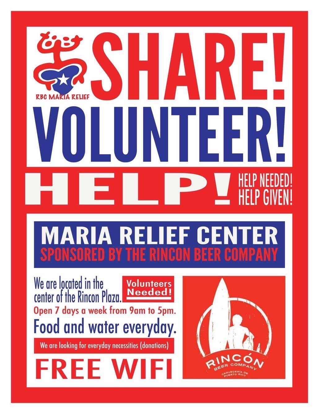 "A poster says, ""Share, Volunteer, Hope"""
