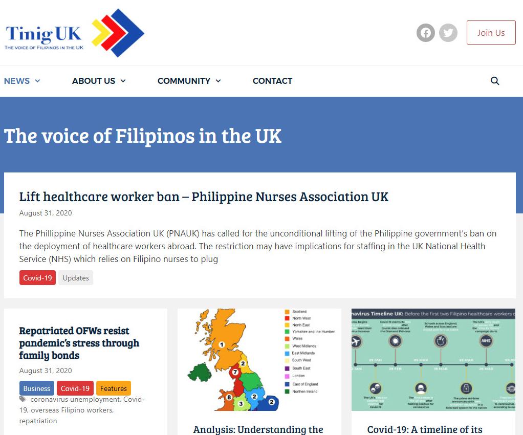 screenshot of the Tinig website