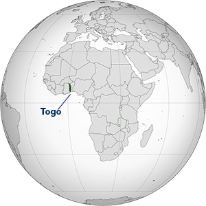 Map of Africa, highlighting Togo