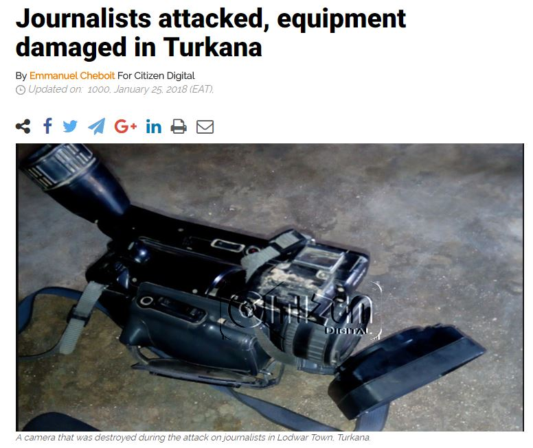 "Screenshot showing a broken camera with the title ""Journalists attacked, equipment damaged in Turkana."""
