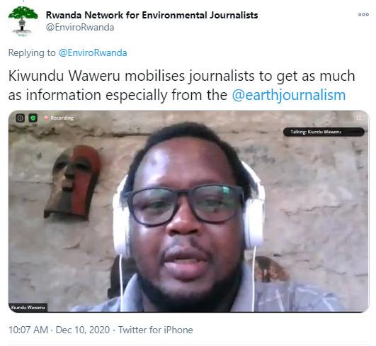 Tweet from Rwanda Network for Environmental Journalists