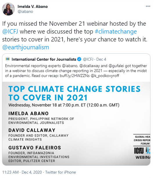 Tweet from Imelda Abano about a webinar: Top Climate Stories to Cover in 2021