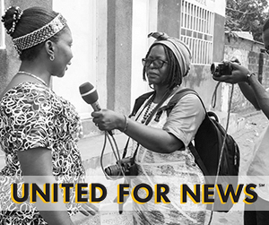 United for News: A women journalist interviews another woman.