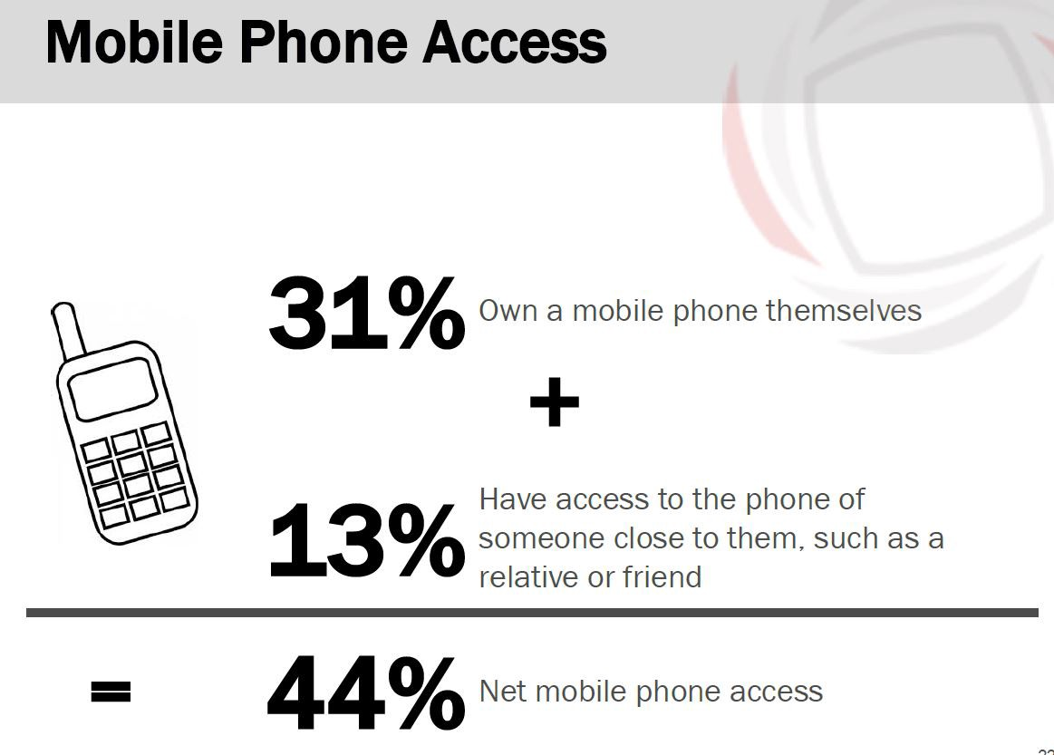Mobile phone access: 31% own a mobile phone, 13% have access to one = 44% net mobile phone access