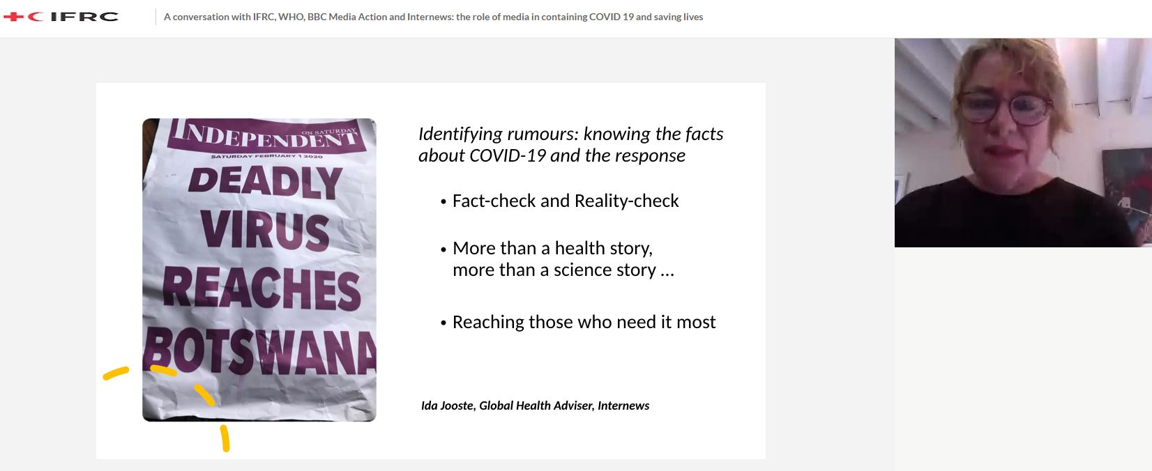 "Screenshot from webinar shows a headline from a newspaper: ""Deadly Virus Reaches Botswana"""