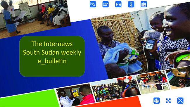 Montage of photos of South Sudanese people using media