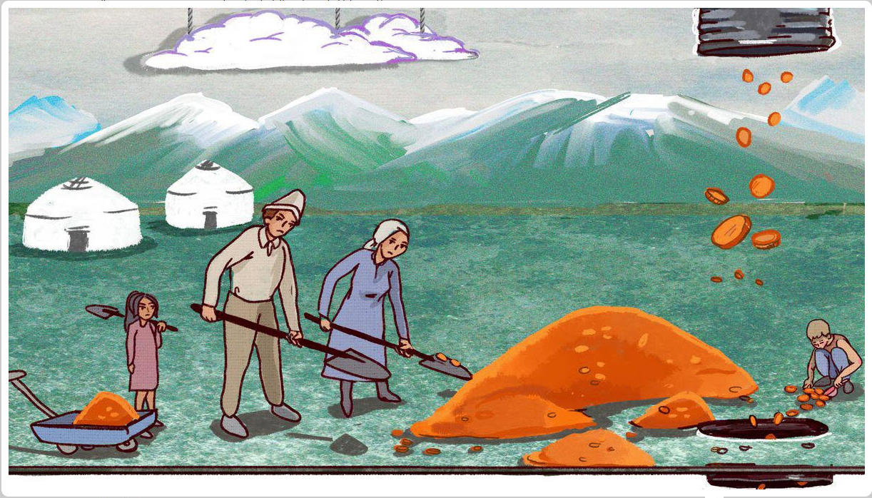 Two people shovel a pile of gold coins, mountains and yurts in the background