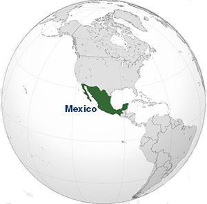 Map highlighting Mexico