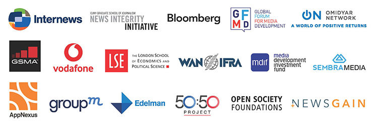 Logos: Internews, News Integrity Initiative, Bloomberg, GFMD, Omidyar Network, GSMA, vodafone, LSE, WAN/IFRA, mdif, SembraMedia, AppNexus, GroupM, Edelman, 50:50 Project, Open Society Foundations, NewsGain
