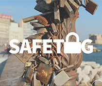SafeTag - photo of a post with many locks on it