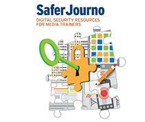SaferJourno - Digital security resources for media trainers - graphic of a key in a lock