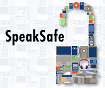 SpeakSafe - logo is an artistic open lock