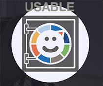 Usable - logo looks like the front of a safe with a smiley face on it