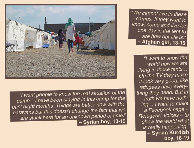 Photo of a woman walking with two children through a camp and quotes from Afghan and Syrian children