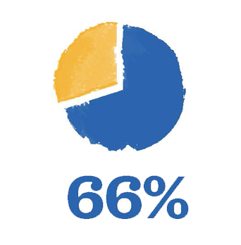 Pie chart showing 66%