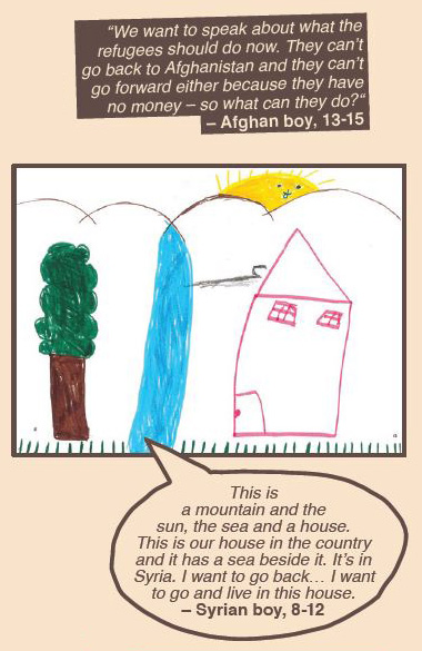 Drawing of a house and quotes from an Afghan boy and a Syrian boy