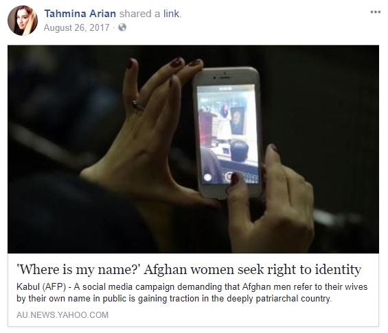 "Screenshot of Facebook post showing a woman's hands holding a smart phone. Underneath it says, ""Where is my name? Afghan women seek right to identify."""