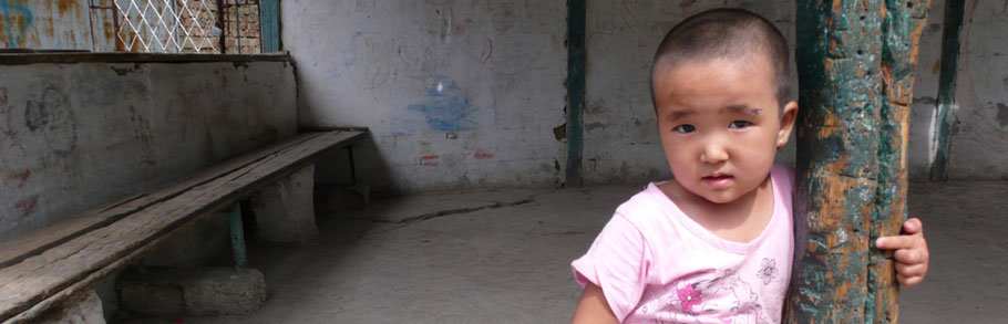 A child at a camp during the ethnic violence