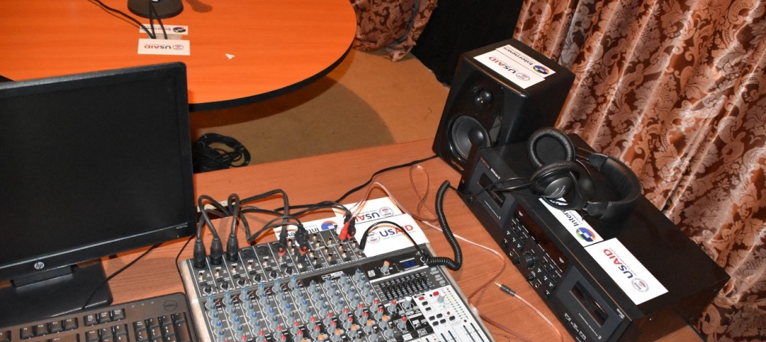 Various types of radio equipment on a table