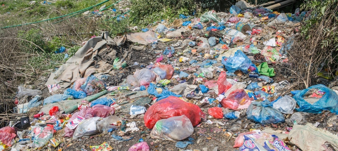 Pile of plastic in a natural area