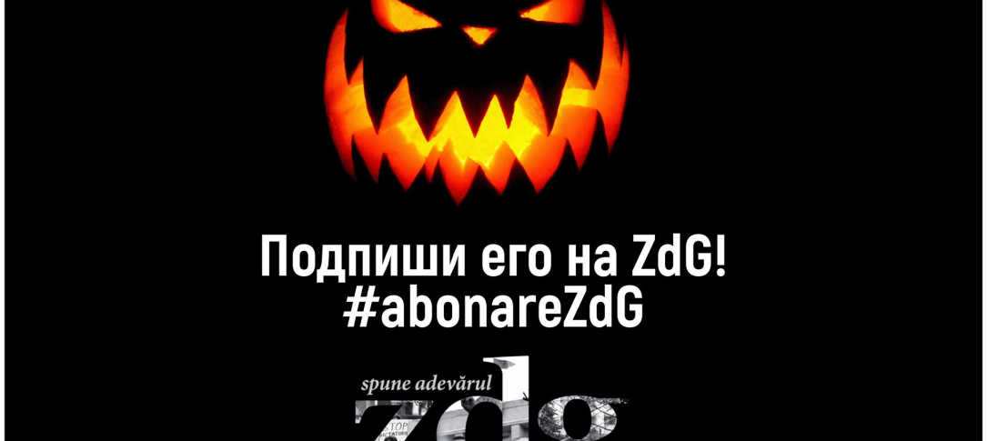 An ad (in Moldovan) featuring a jack-o-lantern
