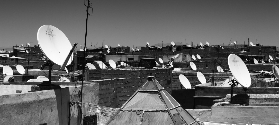 Satellite dishes on rooftops