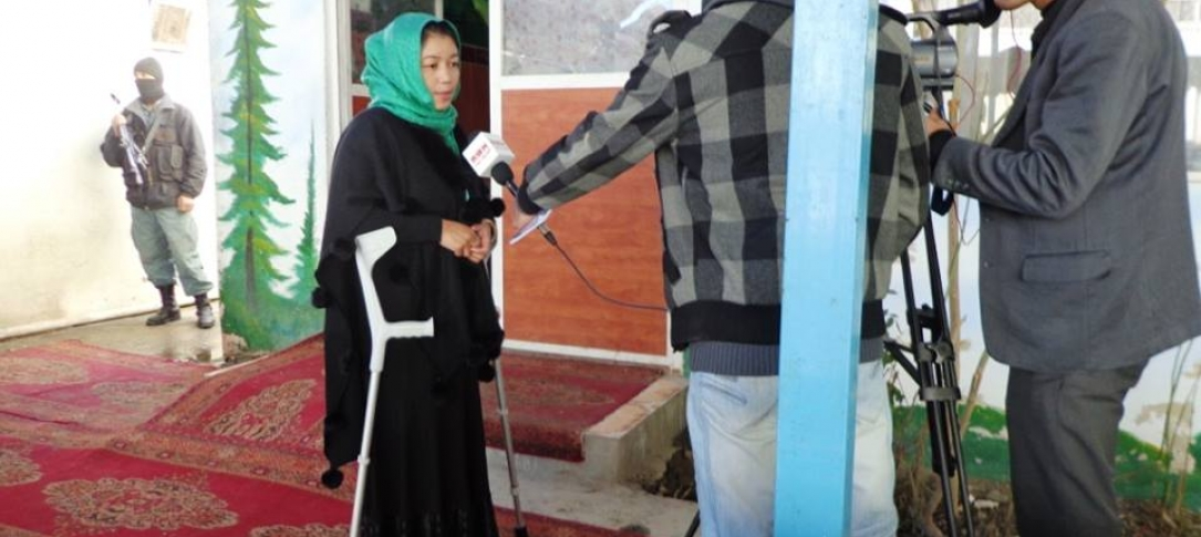 Amina Azimi is interviewed as part of her work with Afghan Landmine Survivors' Organization.