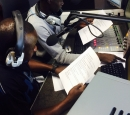 two journalists from South Sudan record a radio segment
