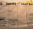A hand written chart serves as a community message board.