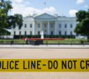 """Police line - do not cross"" tape in front of the White House"