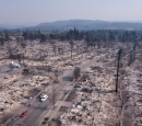 Residential area burned by wildfires