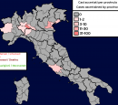 A map of Italy showing the spread of the coronavirus